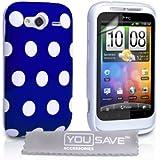 Yousave Accessories HTC Wildfire S Stilvoll Punkte Silikon Gel Gemustert Schutzhülle Mit Displayschutz Film Blau Mit Weiß Punkte - Zubehör Paket