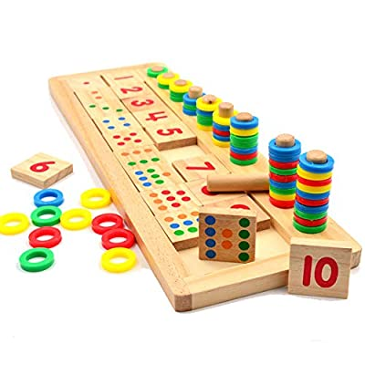 Uteruik Montessori Mathématique éducatif Jouet Arc-en-Ciel Bagues Enfants Maternelle Pédagogiques de comptage et l'empilage Planche en Bois Math Jouet