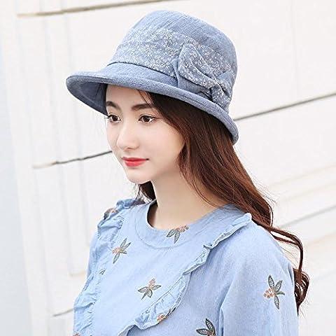 ZHANGYONG*Le chapeau du ressort du printemps et automne les élèves filles cap bassin sauvage Printemps Été élégant ,52-56cm marée pare-soleil, blue denim