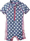 lupilu Kinder Mädchen UV-Schutz-Anzug für Wasser und Strand (Einteiler - Taubenblau/Weiß/Rot gepunktet, Gr. 98/104)