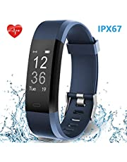 Smart Watch Fitness Band, HolyHigh Fitness Tracker with Heart Rate Monitor Waterproof Sport Activity Tracker Step Counter Sleep Monitor Call SMS Notifications for Men Women Boys Girls
