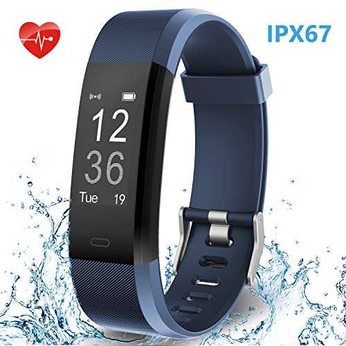 Smart Fitness Band, HolyHigh Fitness Tracker Watch with Heart Rate Monitor IPX67 Waterproof Sport Activity Tracker Band with Step Counter Sleep Monitor Call SMS Notifications for Men Women (Blue)
