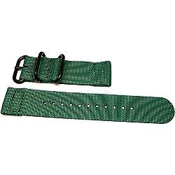 DaLuca Two Piece Ballistic Nylon NATO Watch Strap - Green (PVD Buckle) : 18mm