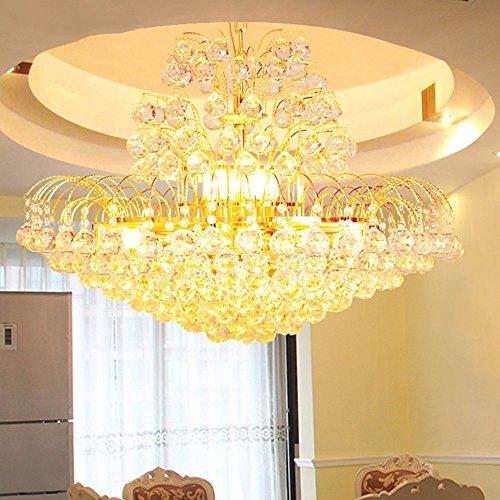 GBYZHMH Europäische Kronleuchter aus Kristall Wohnzimmer Runder Tisch Lampe Restaurant Studie Lampe Leuchte Schlafzimmer goldene Kronleuchter Pendelleuchten Hängeleuchte (Größe: D: 100 cm) mit LED (Runde-tisch-kronleuchter)