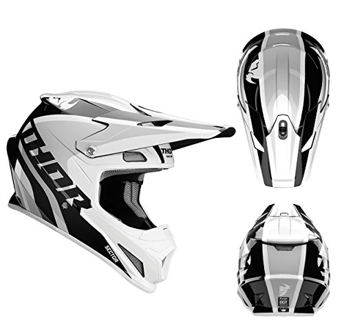 Thor Crosshelm Sector Ricochet Motocross Enduro MX Helm weiss grau Gr. S (Thor Racing)