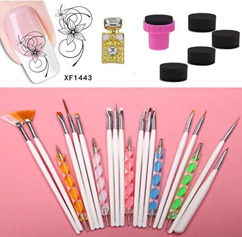 Kit 20 pinceaux Dotting Tool pour nail art ongle + 1 FEUILLE STICKERS + 1 PETIT STRASS MOTIF PETITE BOUTEILLE + 1 TAMPON 5 EPONGES A DEGRADE