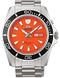 Orient men's automatic analogue watch, orange leather CEM75001MV