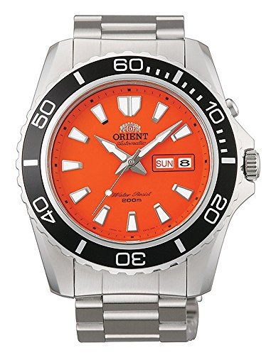 Orient Men's Automatic Watch with Black Dial Analogue Display and Orange Leather CEM75001MV
