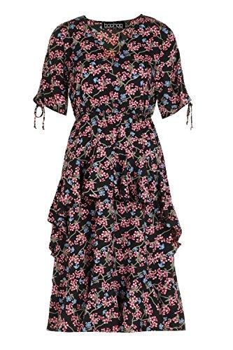 YPO Womens Black Leigh Ditsy Printed Ruffle Hem Midi Dress