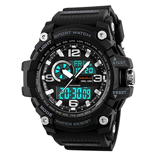 Timewear Military Series Analogue Digital Black Dial Sports Watch for Men - 1283 Black