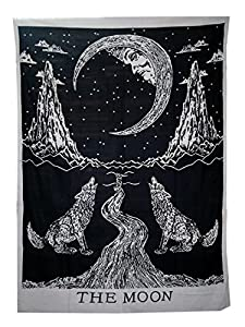 Tapestry wall hanging,Black And White Bohemian Hippie Ethnic Wall Art,Boho Hippy Twin Bedspread Dorm Decor,Yoga Mat Beach Rugs Towel Meditation Tapestries by raajsee 140x220cms