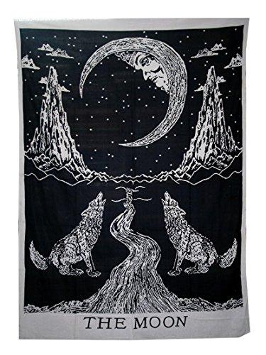 Schwarz und Weiß Wolf indisch Wandteppich Mandala, Hippie Psychedelic Wandbehang Schwarz, Indischer Boho Wolf Wandtucher Orientalisch, Vorhänge Tischdecke,Baumwolle Weihnachten Geschenk von raajsee