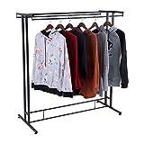 Zerone Double Kleiderstange, Edelstahl Kleidung Rack Kleidung Mäntel Kleiderstange freistehend Kleiderständer 119 x 50 x 131,5 cm, Tragkraft 60-80 kg