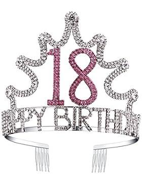 [Sponsorizzato]BABEYOND Tiara Birthday Corona Compleanno Cristallo Cerchietto Compleanno Accessore Compleanno 18/21/30/40/50/...