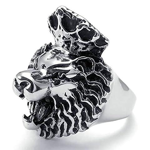 AMDXD Bijoux Acier Inoxydable Bague de Mariage pour Hommes Noir Argent Crown Lion Forme 33MM,Taille 61.5