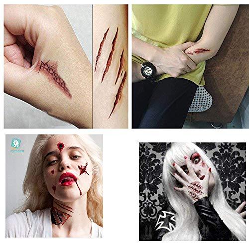 V-RULE Halloween Dekoration Set- Zombie Scars Temporäre Tattoos (11 Blatt) - Halloween Blut Drucke Fenstersticker - Halloween Spinnweben - Halloween Ballone Party - 5