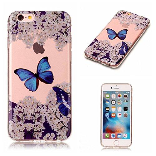 Per Apple iPhone 6,Sunrive® Custodia Cover Case in molle Trasparente Ultra Sottile TPU silicone Morbida Flessibile Pelle Antigraffio protettiva(Fiore rosso farfalla) Farfalla blu