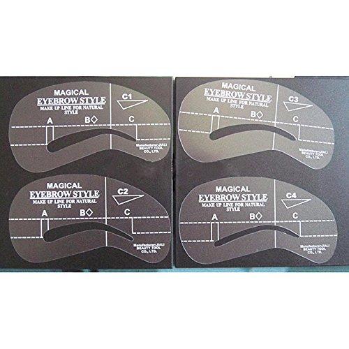 LQZ(TM) 4pcs/set outils Styles réutilisables sourcil toilettage modèle sourcils maquillage cosmetique