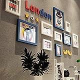 CQSMOO Mauer Skulptur Rahmen Foto Wand Massivholz Bilderrahmen Wand europäischen Stil Wohnzimmer Schlafzimmer 10 Bilderrahmen Kombination Bild by (Farbe : Blue+White)