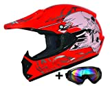 ATO Moto Kids Pro Kinderhelm in Rot inklusive MX Motorrad Brille