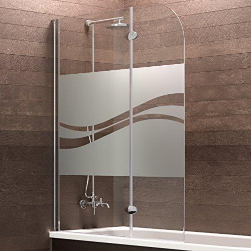 Schulte Badewannenaufsatz Duschabtrennung Badewanne Hamburg 140x112 cm von Schulte, Sicherheitsglas Dekor Liane, Profile chrom, 4056397002505