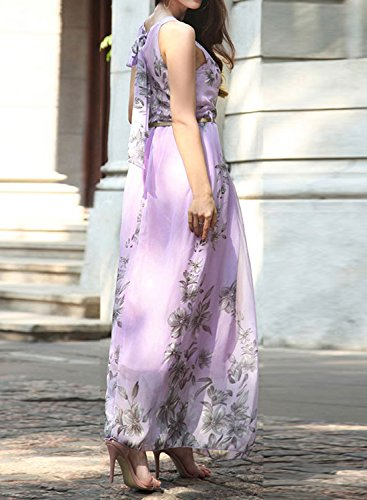 ACHICGIRL Women's Sleeveless Floral Printed Maxi Dress with Belt Purple