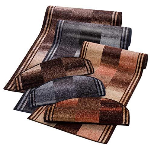 Stufenmatten grau gemustert | Qualitätsprodukt aus Deutschland | GUT Siegel | kombinierbar mit Läufer | 65x23,5 cm | halbrund | 15er Set