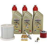 Kit de mantenimiento 10W-50de 40, aceite, cárter, filtro de aire y Bujía para Yamaha XV 535Virago AB BJ 96