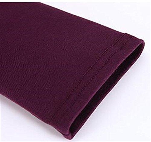 BESTHOO Maglietta Donna Slim Fit Collo Rotondo Manica Lunga T-Shirt Camicia Lunga Orlo Irregolare Purple
