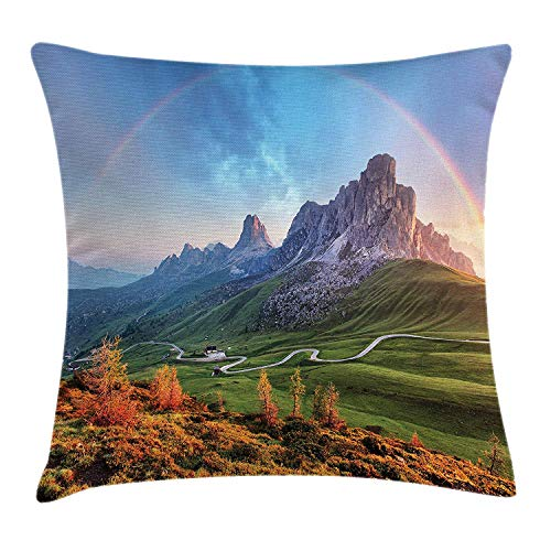XIAOYI Landscape Throw Pillow Cushion Cover, Picture of Alps with a Rainbow and Green Field Mountain Range in The Morning, Decorative Square Accent Pillow Case, 18 X 18 inches, Multicolor -