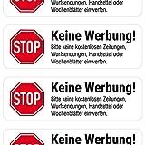 """""""Keine Werbung"""" Briefkasten-Aufkleber (weiß, 4 Stück)"""