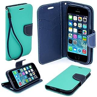Moozy zweifarbige Fancy Tagebuch Buch Beutel Flip Handy Tasche mit Stand / Handschlaufe / Silikon Handyhalter für Apple iPhone 5 5S Hellblau / Blau