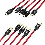 ICZI Cavo USB C a USB 3.0 [ 5 Pack: 1 x 1,8m, 3 x 1m, 1 x 0.3m ] in Nylon Intrecciato Capo d'Alluminio, Cavo USB Type Tipo C con Connettori Placcati in Oro per Samsung Galaxy S8/Note8, Macbook Pro, Nexus 5X/6P, Huawei P9/P10/Mate 9/Honor 8/Honor 9, LG G5/G6, One Plus 5/3T/3, Nientendo Switch ecc (Nero/Rosso) immagine