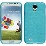 PhoneNatic Case für Samsung Galaxy S4 Hülle Silikon blau brushed Cover Galaxy S4 Tasche Case