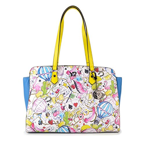 BORSA YNOT LAS VEGAS SHOPPING BAG LS-006 HIT-L YELLOW TRIMMING Bianco