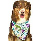 Sdltkhy Chameleons and Tropical Leaves and Flowers Triangle Bandana Scarves Accessories for Pet Cats and Dogs - Gifts