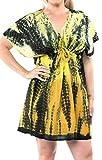 LA LEELA Frauen Bademode Liege Kleid Designer Sundress und Bikini-Vertuschung-gelb