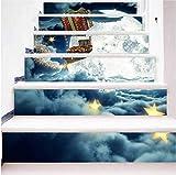 TtKj Pegatinas de escaleras Etiqueta engomada de la Escalera de Navidad Navidad Regalo Barco 3D Sticker Decorativo de Paso (Juego de 6 100 * 18cm)