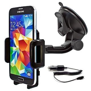Mobilefox KFZ SET 360° Universal Handy Halterung Auto Halter für die Windschutzscheibe mit Micro USB Ladekabel Samsung Galaxy S9 S8 S7 S6 S5 S4 S3 S2 Edge Plus Mini Active Note J7 J5 J3 J1 A9 A8 A7 A5 A3