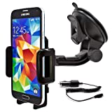 mobilefox® 360° KFZ Halterung Handyhalterung Auto Halterung inkl. KFZ Ladekabel Car Holder Halter für Smartphone Samsung Galaxy S7 / S6 / S5 / S5 mini / J1 / J5 / A7 / A5 / A3 / Alpha / S4 / S4 mini / S4 Active / S3 / S3 mini / S2 / ATIV S / Note Edge / Note 4 / Note 3 / Note 3 Neo / Note 2 / Trend Lite / Trend Plus / Core / Core Plus / Young / Ace 2 + 3 / Ace Style / Y / S Duos 1 + 2 / mini 1 + 2 / Express / Express II / Mega 6.3 / Pocket 2