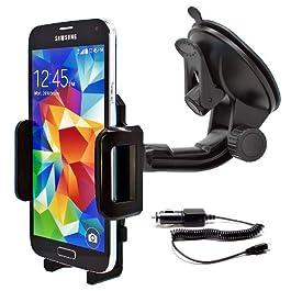 mobilefox® Car SET 360° Phone Holder Vacuum Cup + Mirco-USB Charging Cable for Samsung Galaxy S7 S6 Edge S5 Neo mini A3 A5 J1 J3 J5 J7
