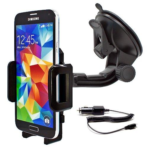 mobilefox® 360° KFZ Halterung Handyhalterung Auto Halterung inkl. KFZ Ladekabel Car Holder Halter für Smartphone Samsung Galaxy S7 / S6 / S5 / S5 mini / J1 / J5 / A7 / A5 / A3 / Alpha / S4 / S4 mini / S4 Active / S3 / S3 mini / S2 / ATIV S / Note Edge / Note 4 / Note 3 / Note 3 Neo / Note 2 / Trend Lite / Trend Plus / Core / Core Plus / Young / Ace 2 + 3 / Ace Style / Y / S Duos 1 + 2 / mini 1 + 2 / Express / Express II / Mega 6.3 / Pocket 2 (Halter Samsung-handy)
