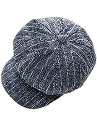 Gysad Sombrero Mujer Diseño a Cuadros Newsboy Hat Suave y Confortable Gorra Boina Mujer Moda Retro Sombrero de Invierno