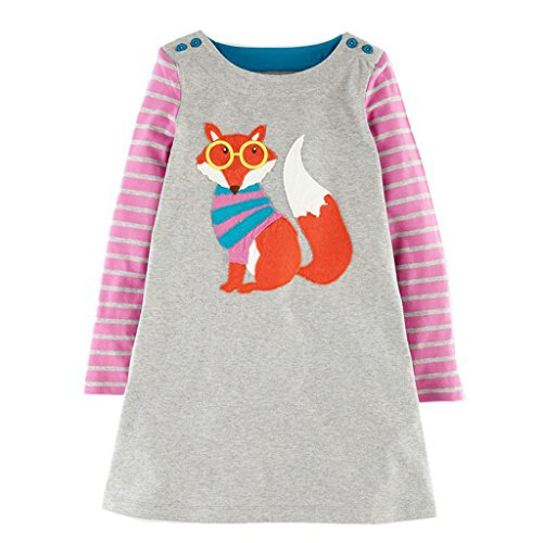 Mooler Mädchen mit Rundhalsausschnitt Langarm Kleider Cotton Cartoon Fox Applikationen T-Shirt-Kleid , Grau , 18-24 Monate (Kleid Besticktes T-shirt)