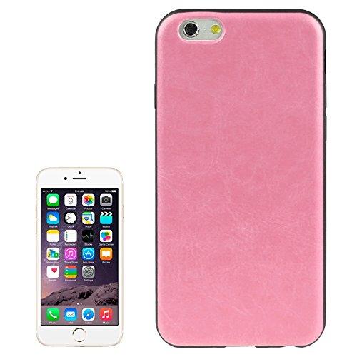 WKKIT Case crazy horse de la texture du cuir pour iphone 6 dépouillement silicone plus &6s et ( Color : Magenta ) Pink