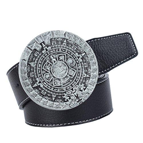Sharplace 1 Stück Vintage Ledergürtel mit großer 3D Maya Sonnenkalender Schnalle Cowboy Cowgirl Stil Jeans Zubehör - Schwarz (Große Cowgirl-gürtel-schnalle)