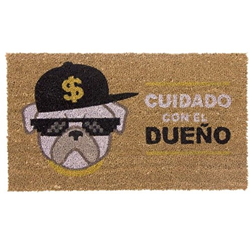 """Felpudo """"Cuidado con el Dueño"""" Original Perro con gafas y gorra"""