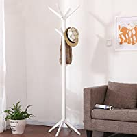 ZJM Wood Clothes Tree Floor Type Simple Hat And Coat Stand Assemble177cm