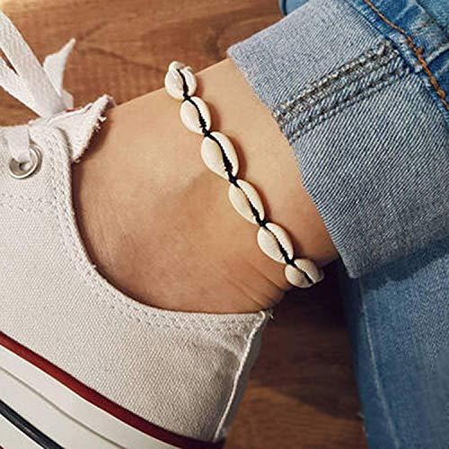 Gaddrt Fußkettchen Frauen Muschel Körper Fußkette Muschel Einstellbare Anhänger Schmuck (Black) -