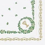 Kommunion - Serviette, 33x33cm, 3-lagig, weiß, Goldbordüre, Kelch, grüne Blätterranke, 20Stück
